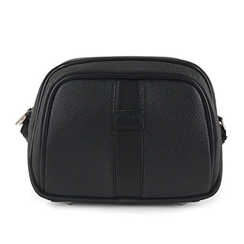 Leather Beauty Case Vanity, 28 cm, 10 liters, Noir (Black)