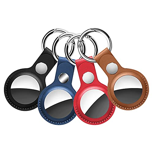 Airtags Schlüsselanhänger Hüllen Airtag Anhänger Schlüsselanhänger Schutzhülle Schlüsselringhalter Halt für H&e Taschen Gepäck Schlüssel, Kompatibel mit Apple Fernbedienungen, PU Leder, 4 Stück
