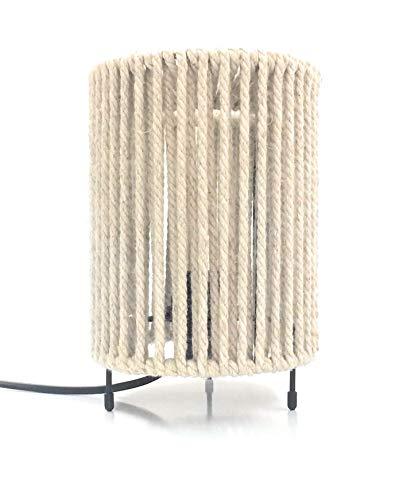 Acapulco BeigeTischlampe mit weißer natürlicher Macrame Cord