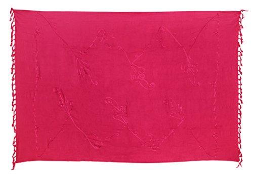 Ciffre Premium Sarong Pareo Wickelrock Strandtuch Lunghi Dhoti Schlicht Blickdicht Tolle Stickerei Pink + Schnalle