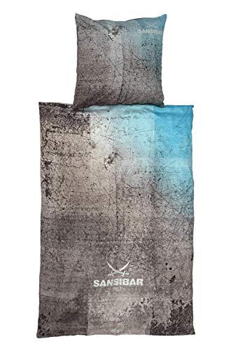 Sansibar Satin Wendebettwäsche Bettwäsche Set 2 teilig Bettbezug 155x220 cm Kissenbezug 80x80 cm Design Türkis/Hellgrau