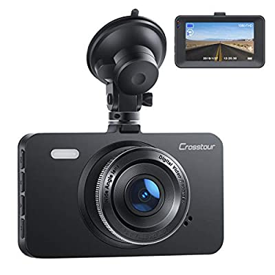 """Dash Cam, Crosstour 1080P Car DVR Dashboard Camera FHD with 3"""" LCD Screen 170°Wide Angle, WDR, G-Sensor, Loop Recording and Motion Detection"""