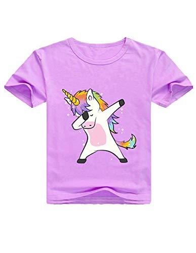 Camisetas Unicornios para Niñas Dibujos Animados Casual Camiseta de Verano Camisetas Niña de Manga Corta Tops T-Shirt (Púrpura, 130cm)