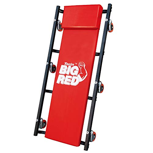 "BIG RED TR6500 Torin Rolling Garage/Shop Creeper: 36"" Padded Mechanic Cart with Headrest and 6 Casters, Red"