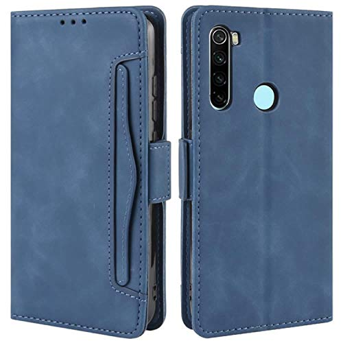 HualuBro Xiaomi Redmi Note 8 Case, Magnetic Full Body Protection Shockproof Flip Leather Wallet Case Cover with Card Slot Holder for Xiaomi Redmi Note 8 Phone Case (Blue)