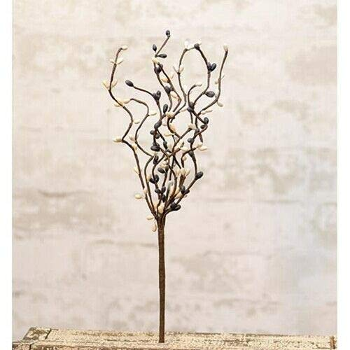 NIMBOD - Holiday, Seasonal, Floral Decor Supplies for Pip Berry Picks Stems Gray White Cream Mix Set of 3 Crafts Primitive 12' Country for Christmas Decorations, Wall, Door, Home Décor