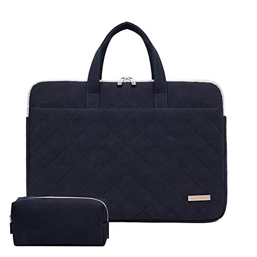 Waterproof PU Leather Laptop Handbags for MacBook Air Pro Sleeve Case 13.3 14 15.6 inch Portable Bag Notebook Bags-Navy Blue-Set_13-inch