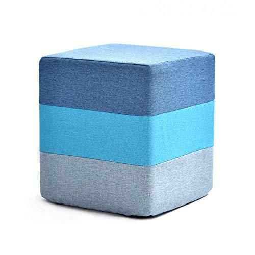 XLSQW Reposapiés de tela otomana Banco reposapiés taburete bajo taburete rectangular taburete de mesa de café taburete cambiador taburete moderno hogar salón dormitorio azul