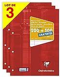 Clairefontaine 65818AMZC - Pack de 3 bloques de encolados grandes (300 páginas (200 + 100 gratis) 90 g, perforados 4 agujeros y rayados con márgen, cubiertas de cartulina recubierta, color rojo