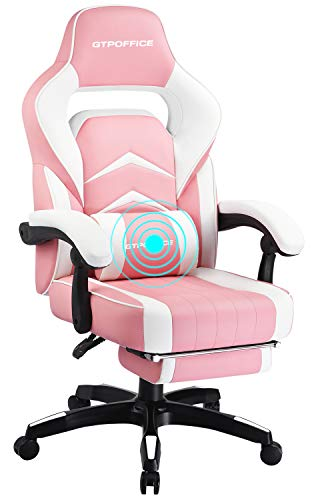 GTPOFFICE Massage Gaming Chair with Footrest High Back Ergonomic Massage Office Chair for Adults Adjustable Swivel Leather Computer Chair with Headrest and Massager Lumbar Support,Pink