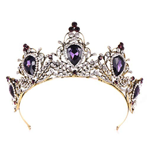 Panpan Viola Crystal Crown Barocco Corona Strass Tiara e Parte Superiore Nuziale Corona Fascia per Le Donne
