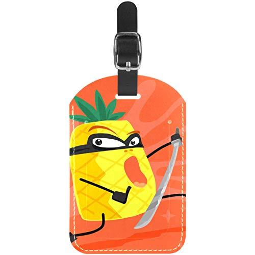 Etiquetas de equipaje de piel de piña Ninja de dibujos animados para maleta de viaje, 1 paquete