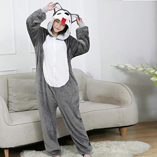 M & A Schlafanzug Tierpyjamas Husky Dog Kigurumi Onesies Für Erwachsene Frauen Männer Alles in einem Cartoon Cosplay Halloween Kostüm Einteiliger Pyjama-Husky Hund_M.