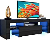 AUTSCA TV Stand for 55 inch TVs, Entertainment Center with LED Lights 20 Color Effects, Living Room Console Table with Storage Cabinet and Shelves