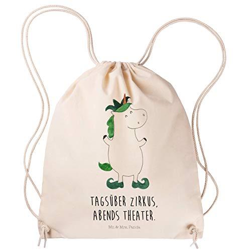 Mr. & Mrs. Panda Sporttasche, Turnbeutel, Sportbeutel Einhorn Joker mit Spruch - Farbe Transparent