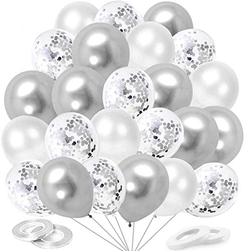 O-Kinee Globos de Confeti Plateados, 60 Piezas Globos Metalizados Plateados y Latex Blancos, para Cumpleaños, Bodas Aniversario, Bautizos Comunion Baby Shower, Graduacion Fiesta Decoracion