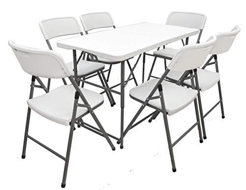 AMANKA Juego de Muebles de Jardín - Mesa 120 cm con 6 Sillas Grupo de Asientos Plegable Impermeable