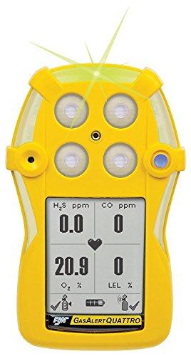BW Technologies QT-X000-A-Y-NA GasAlertQuattro - Detector de Gas con batería alcalina, O2, Rango de medición de 0-30,0%, 0,1% de resolución, Color Amarill