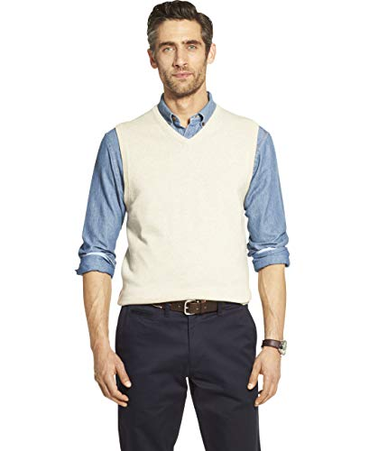 IZOD Men's Premium Essentials Solid V-Neck 12 Gauge Sweater Vest, ROCK HEATHER, Large