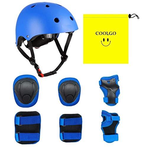 COOLGO Kinder Helm Inliner Protektoren Set, Skateboard Helm mit Schutzausrüstung Knie-Ellbogen-Handgelenk Schoner Set für Inliner Skaten Roller Skateboard Geeignet für Kinder 15-35 kg (Weiß) (Blue)