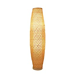 lampadaire Lampadaire en Rotin – Lampadaires – Marron Grand lampadaire debout (Taille : 25 * 100cm)