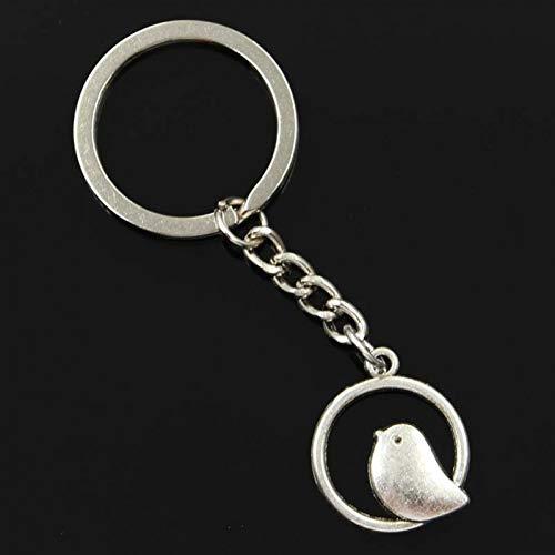 TAOYUE Männer 30Mm Schlüsselbund DIY Metallhalter Kette Vintage Kreis Kleiner Vogel 24X20Mm Silber Farbe Anhänger Geschenk