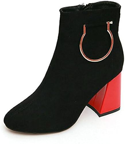 Ajunr-Chaussures Pour Femmes à La Mode Rétro Style Square élégant Bottes Martin Bottes En Daim Boucle Métal Fermeture éclair Latérale Simple Bottes Fines