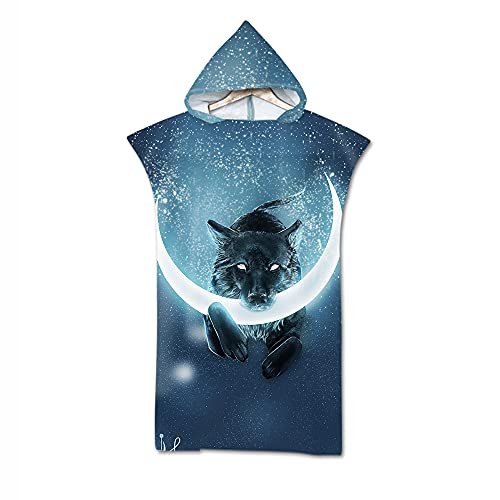 Beach Towel Hooded Poncho Changing, Meiju Microfiber Fabric 3D Printing Cloaks Hooded Adult Bathrobe Adult for Men Women Swimming Beach (Moon wolf,75 * 110cm)
