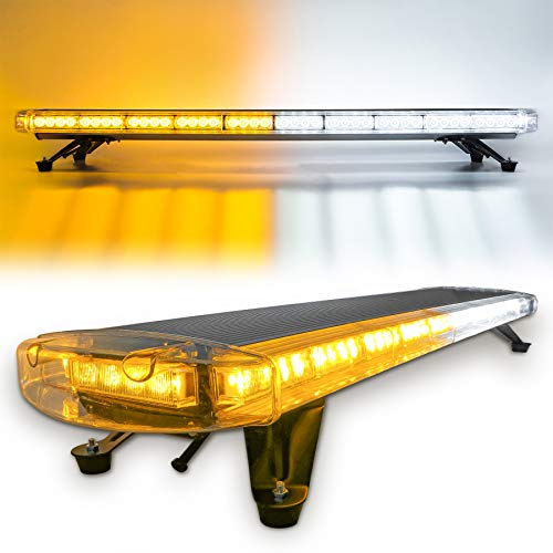 CUMART 47 88 Amber White LED Extreme High Intensity Construction Emergency Warning Strobe Light Bar Rooftop Low Profile Law Enforcement Hazard Flashing For Tow Truck Vehicle Universal