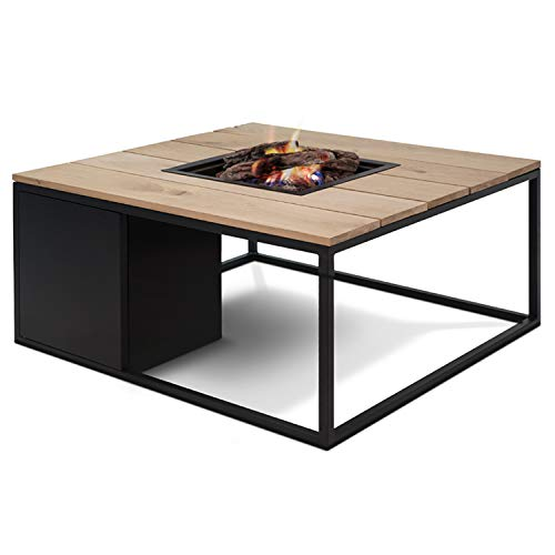 CosiLoft 100 Lounge Table Fire Pit with Black Frame and a Teak Top