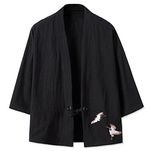 Mirecoo Haori - Chaqueta de kimono para hombre, cuello en V Negro S