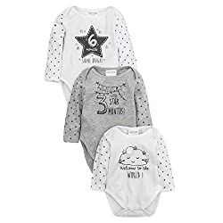 BABY BOYS & GIRLS SET - These 3 Pack milestone print unisex baby bodysuits is available in size 0-6 Months. Set includes 3 Rompers in sizes Newborn, 3 Months and 6 Months. CUTE DETAILS - Featuring long sleeve bodysuit, neck & shoulders finished with ...
