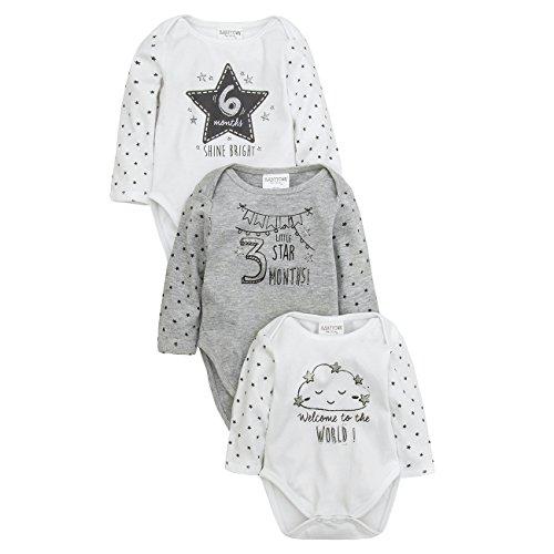 Lot de 3 Milestone bodies à manches longues/Grenouillère pour femme – Neuf Cadeau de Baby Shower