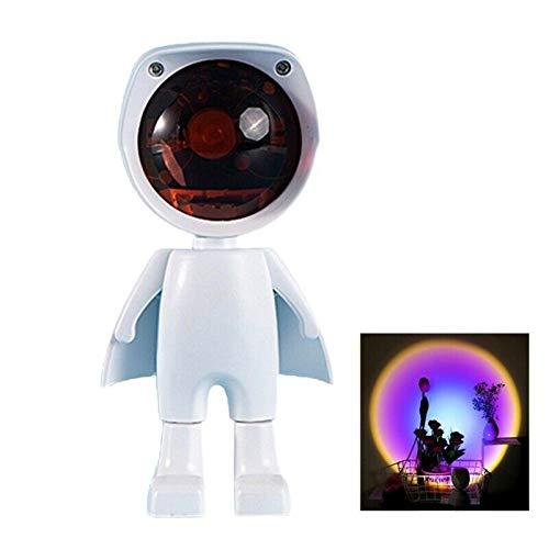 Luz LED de proyección de puesta de sol, lámpara de arco iris giratoria de 360 °, luz de atmósfera para habitación, robot, lámpara de pie para bodas, fiestas de cumpleaños, carga USB (arcoíris)