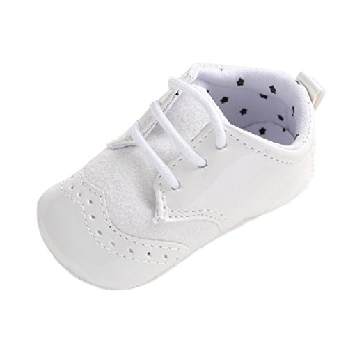 Fire Frog Infant Baby Classic England PU Leather Soft Soled Anti-Slip Toddler Shoes White 0-6m