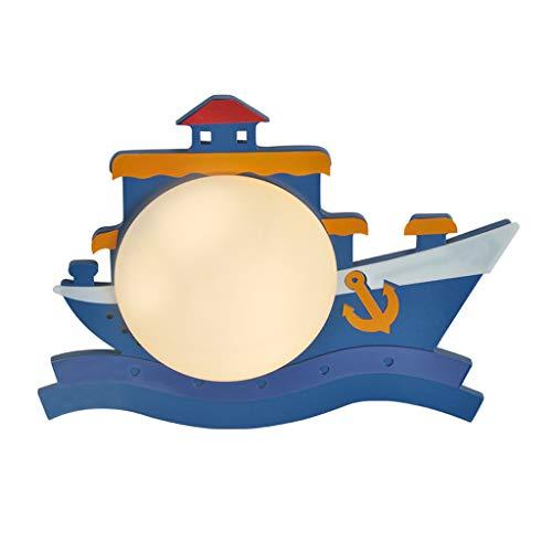 JLXW Wandlamp voor piratenschip, LED-wandlamp met lampenkap van glas en E27-fitting, 6 W, voor kinderkamer, school, Materna