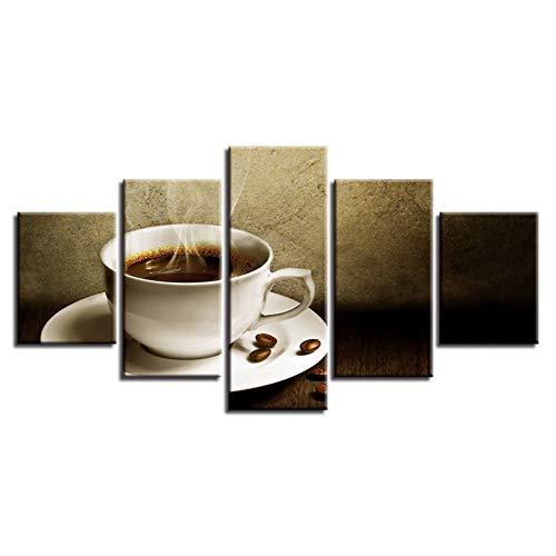 DAIZHJ Canvas Schilderijen Home Decor HD Prints 5 Stuks Koffie Artistieke Afbeeldingen Keuken Poster Modulaire Restaurant Wall Art