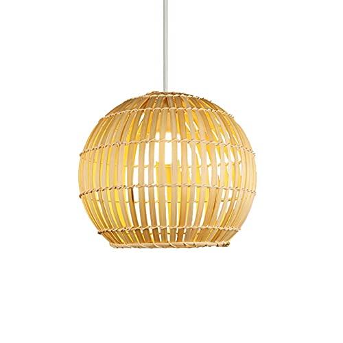 Wlgt Lámparas colgantes de bambú de estilo japonés Granja de bricolaje Trabajo de bambú Tejido de bambú tejido a mano Lámpara de araña Restaurante Hecho a mano Globle Jaula de pájaros Lámparas colgant
