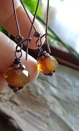 ◦ • ● ◉ஐ CRISTAL EN COLORES AMBAR Y COBRE - GANCHOS DE RIÑÓN LARGOS ◦ • ● ◉ஐ Pendientes únicos y románticos en cobre, naranja, amarillo,