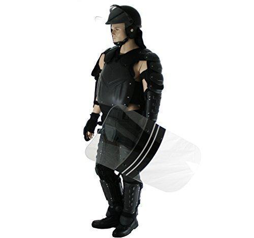 Beschermende pak voor de politie, bestaande uit beschermers, beschermpak, helm en beschermend schild.