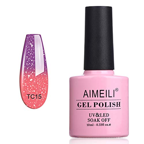 AIMEILI UV LED Thermo Gellack ablösbarer Temperatur Farbwechsel Gel Nagellack Gel Polish - New Glitzer Purple To Pink (TC15) 10ml