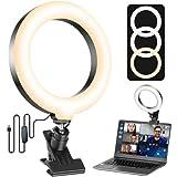 Videokonferenz Licht, ULANZI Led Ringlicht mit Klemme Dimmbare, Ringleuchte für Laptop PC, VideoKonferenz Beleuchtung Streaming Licht für Home-Office-Arbeitsplätze, Video Call, Fernarbeit