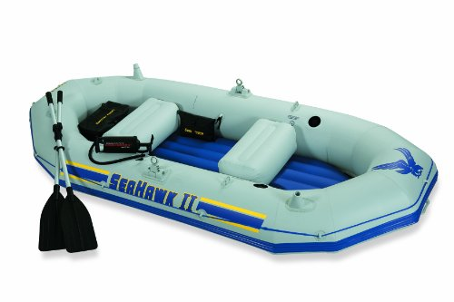 Intex Seahawk 2, 2-Person Inflatable Boat Set with French Oars and High Output Air Pump (Latest Model)