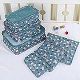 ZHYHAM Juego de 6 bolsas de almacenamiento portátiles para equipaje de tela para ropa nean, maleta, embalaje para lavandería