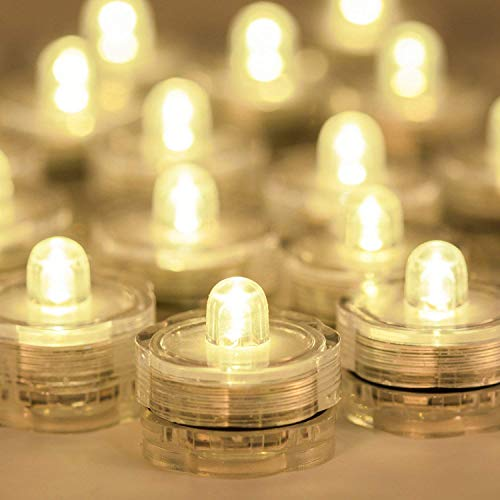 AGPTEK 24 Pack Warm White Battery LED Tea Light Candle Flameless Steady Light Submersible Waterproof Wedding Floral Decoration Tea Vase light