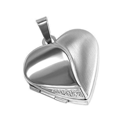 Anhänger Medaillon Herz mit 1 Zirkoniastein weiß zum öffnen 925/- Sterling Silber 20 x 20 mm, Panzerkette inkl. Gravur (mit Gravur, 50 Zentimeter)
