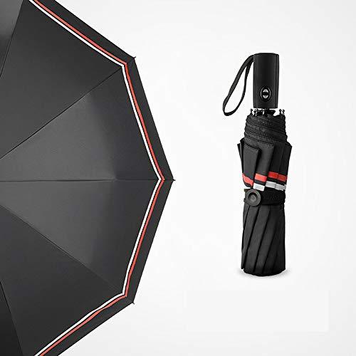 Automatische paraplu D1 handdoek, zwart, blauw geruit, middelgroot