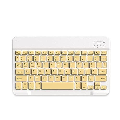 Tree-es-Life Teclado de ratón Estable, Teclado inalámbrico portátil Universal de 10 Pulgadas para Tableta, Ordenador, teléfono móvil, Teclado Amarillo