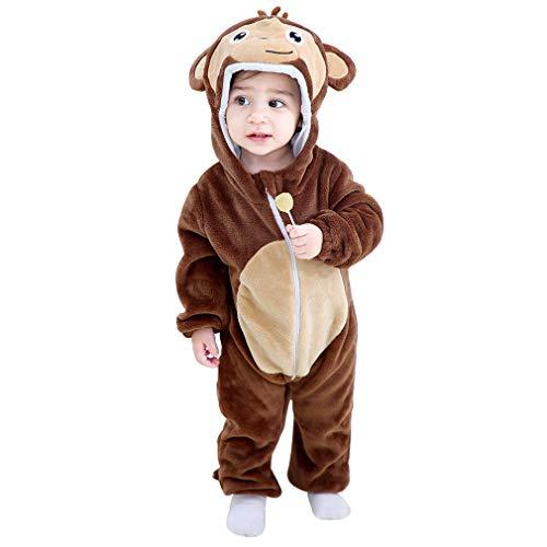 MICHLEY Baby Strampler mit Tier Kapuze Overall Mädchen und Junge Jumpsuit Bekleidung, AFFE 2-5 Monate