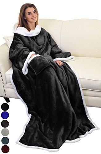 Catalonia TV-Decke Kuscheldecke ganzkörperdecke mit Ärmeln und Taschen zweiseitige Decke Microplush Fleece Sherpa Warme Decken für Erwachsene Frauen Männer Erwachsene 183cm x 140cm, schwarz